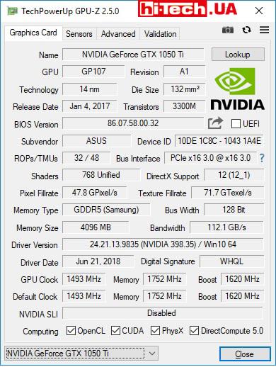 ASUS TUF Gaming FX505G GPUZ