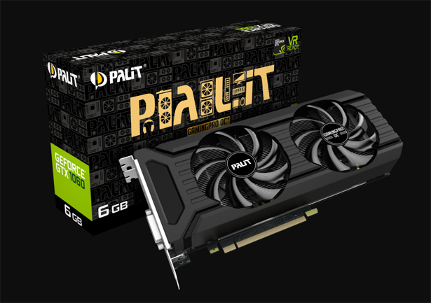 Palit GeForce GTX 1060 GamingPro OC+ с памятью GDDR5X