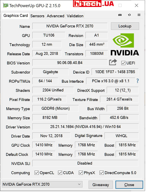 Характеристики Gigabyte AORUS GeForce RTX 2070 XTREME 8G (данные приложения GPU-Z)