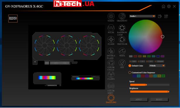 Управление подсветкой Gigabyte AORUS GeForce RTX 2070 XTREME 8G