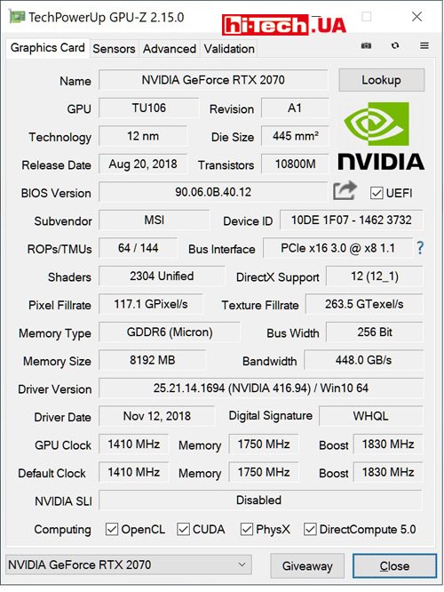 Характеристики MSI GeForce RTX 2070 GAMING Z 8G (данные приложения GPU-Z)