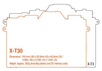 Сравнение размеров Fujifilm X-T30 и Fujifilm X-T3