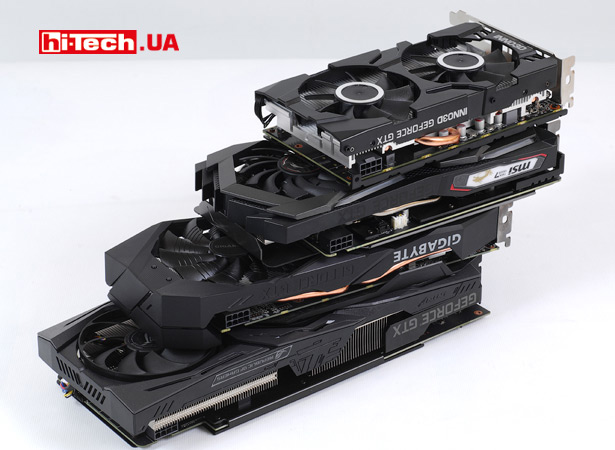 Видеокарты ASUS ROG Strix GeForce GTX 1660 Ti OC edition, Gigabyte GeForce GTX 1660 Ti WINDFORCE OC 6G, Inno3D GeForce GTX 1660 Ti Twin X2 и MSI GeForce GTX 1660 Ti GAMING X 6G