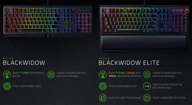 Сравнение представленной Razer BlackWidow с флагманской BlackWidow Elite