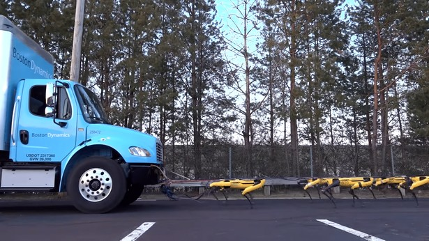 boston dynamics spotmini pull truck