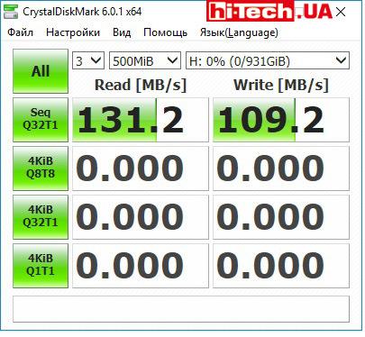 Результаты тестов накопителя ADATA HD650 (AHD650-1TU31-CBL) в приложении CrystalDiskMark