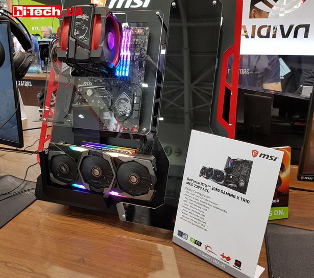 Сборка из видеокарты MSI GeForce RTX 2080 Gaming X TRIO и материнской платы MSI MEG Z390 ACE