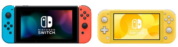Сравнение Nintendo Switch (слева и новой Nintendo Switch Lite