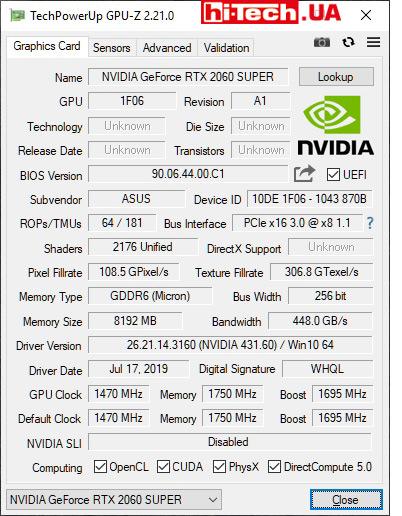 Характеристики ASUS Dual GeForce RTX 2060 SUPER EVO OC в GPU-Z