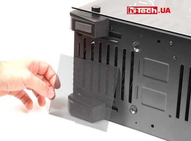 Нижняя пылезащитная сетка, вентилятор блока питания втягивает воздух снизу