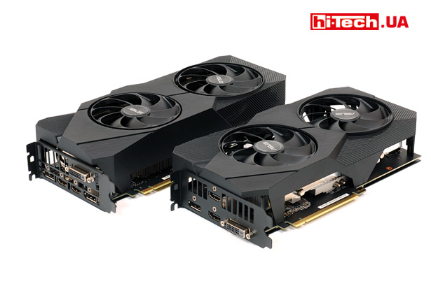 ASUS Dual GeForce RTX 2060 SUPER EVO OC (дальняя) и ASUS Dual GeForce RTX 2060 OC EVO