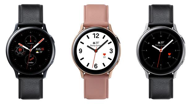 Стальные часы Samsung Galaxy Watch Active2 с кожаным ремешком