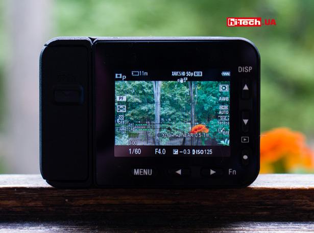 Элементы, надписи, значки на экране Sony RX0 II выглядят очень мелко