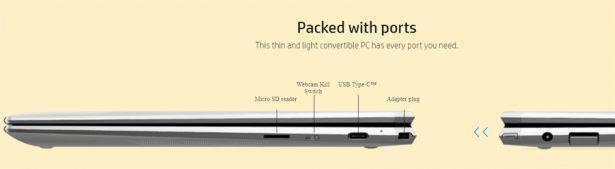 Порты на боковой панели HP Spectre x360 13