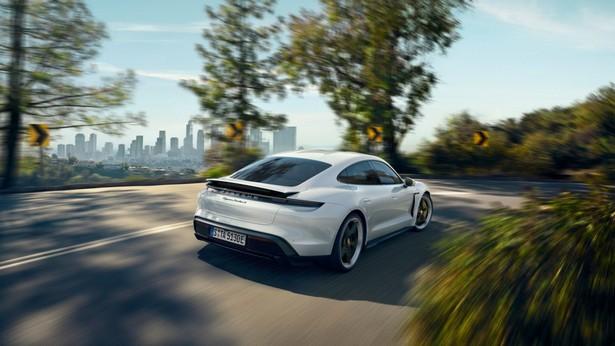 Porsche Taycan лес