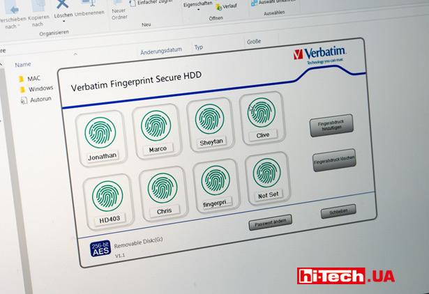Приложение Verbatim Fingerprint Secure Hard Drive