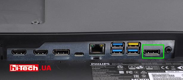 Монитор содержит не только видеовходы, но и видеовыход DisplayPort