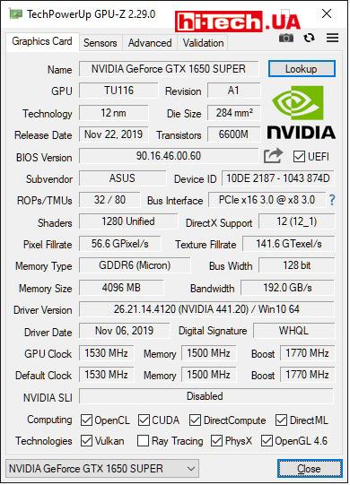 Характеристики ASUS TUF Gaming GeForce GTX 1650 SUPER OC (данные приложения GPU-Z)