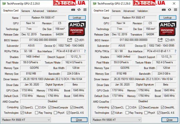 Характеристики ASUS Dual Radeon RX 5500 XT EVO (левый скриншот) и ASUS ROG Strix Radeon RX 5500 XT (данные приложения GPU-Z)