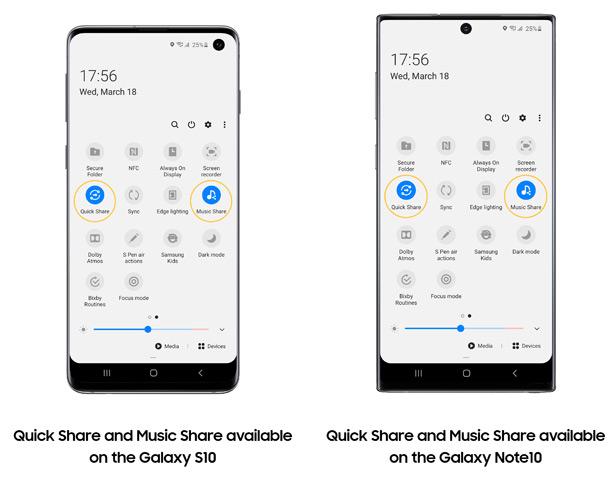 Quick Share и Music Share в Samsung Galaxy S10 и Galaxy Note10