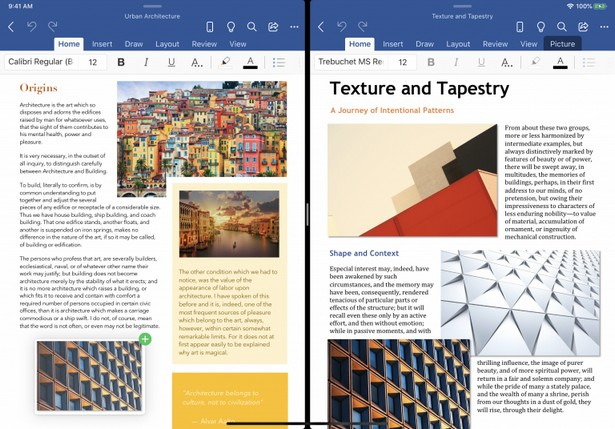 Microsoft Word и PowerPoint для iOS на iPad