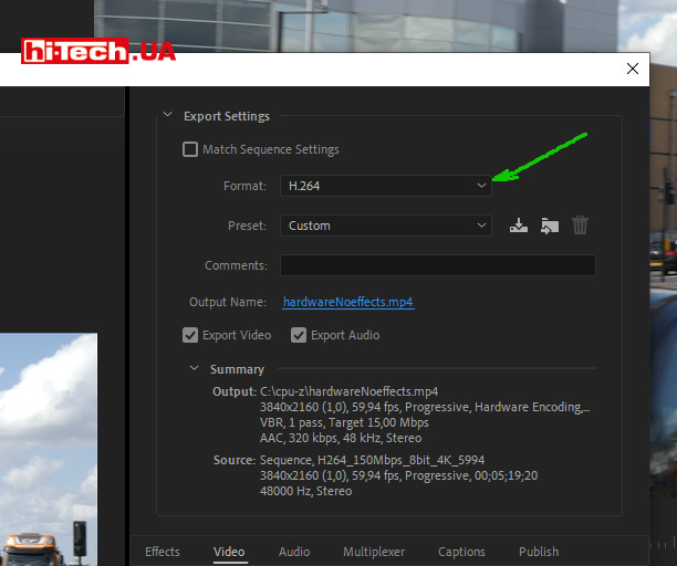 Adobe Premiere Pro выбор H.264 при экспорте