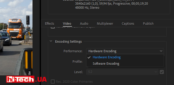 Adobe Premiere Pro выбор аппаратного кодирования видеокартой