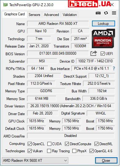 Характеристики MSI Radeon RX 5600 XT Gaming X по данным GPUZ