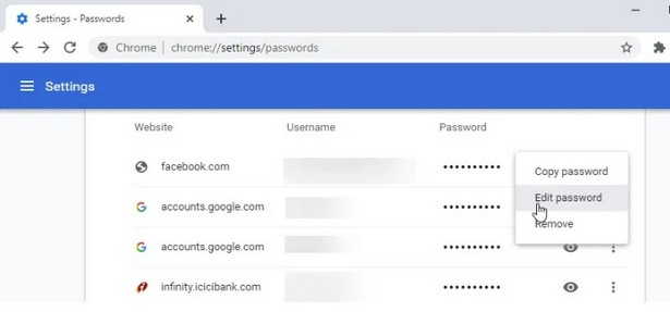 Google Chrome Canary edit password