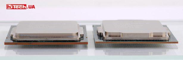 Можно заметить, что толщина текстолита у нового Intel Core i9-10900K (слева на фото) стала больше
