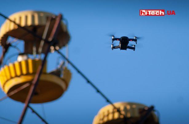 Съемка колеса обозрения в парке развлечений Припять дроном DJI Mavic Air