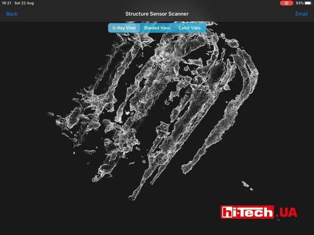 Скриншот приложения, используемого для получения 3D-модели