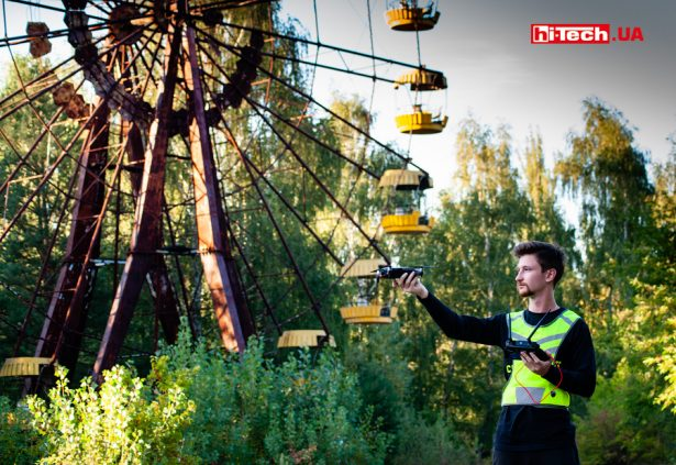 Съемка колеса обозрения в парке развлечений Припять