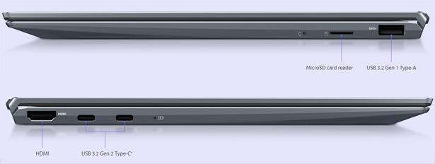 Разъемы на боковых панелях ASUS ZenBook 14 (UM425)