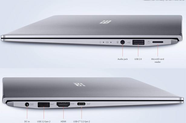 Разъемы на боковых панелях ASUS ZenBook 14 (UM433IQ)