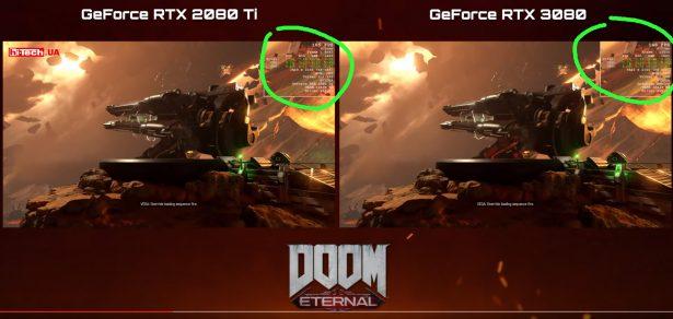 Сравнение NVIDIA GeForce RTX 3080 с у RTX 2080 Ti в игре DOOM Eternal