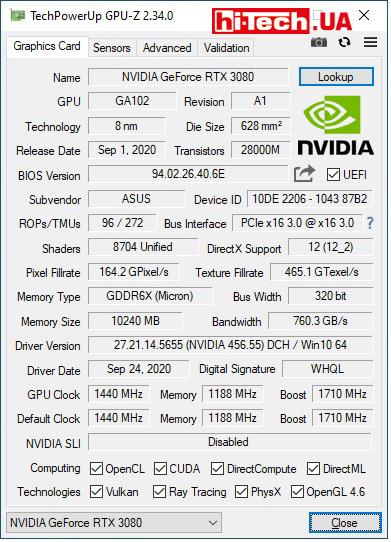 Характеристики ASUS TUF Gaming GeForce RTX 3080 по данным GPUZ