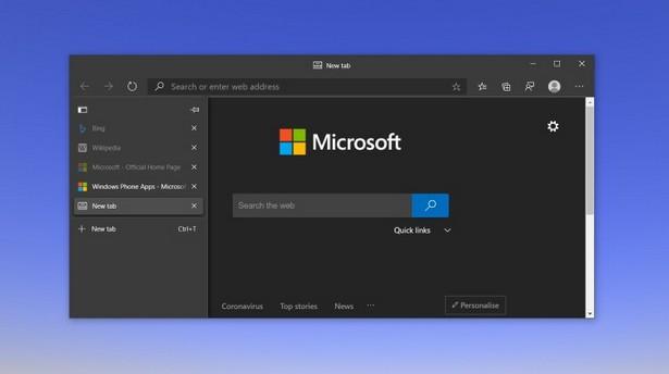 Microsoft Edge vertical