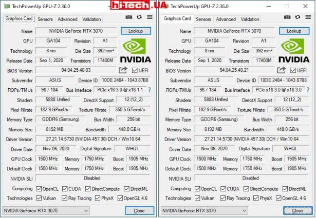 Данные из GPU-Z с переключателем в положении P и положении Q (справа)