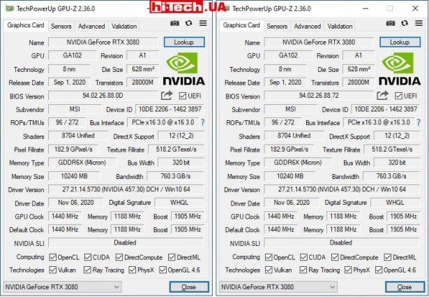 Данные из GPU-Z с переключателем в положении Gaming (слева) и Silent