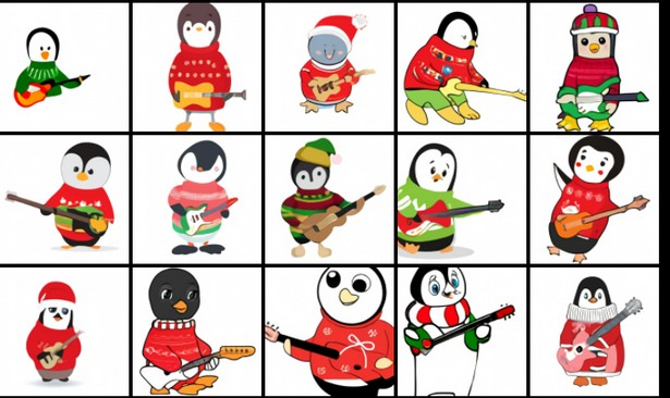 Ребёнок-пингвин в рождественском свитере играет на гитаре