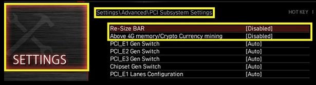 Re-Size BAR включение в BIOS на плате MSI