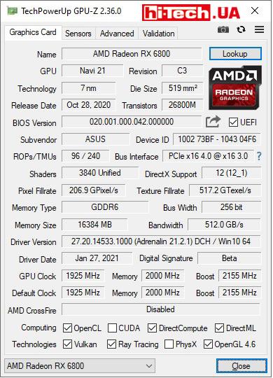 Характеристики ASUS TUF GAMING Radeon RX 6800 по данным GPU-Z
