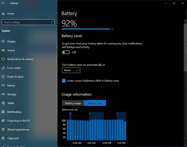 Windows 10 battery setup