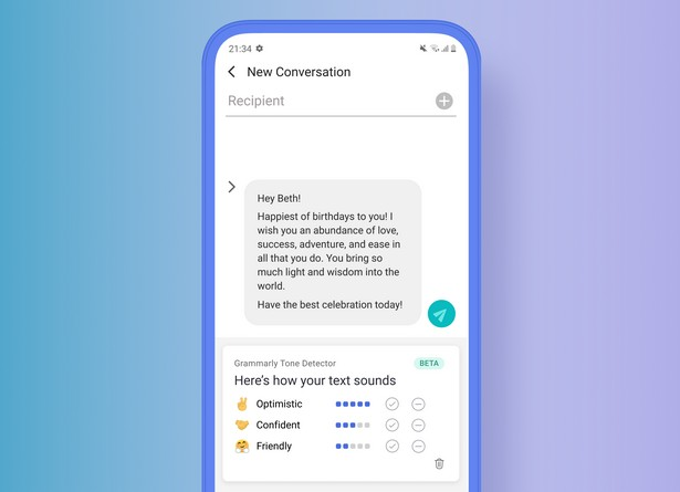 Клавіатура_Grammarly (Android)_Tone Detector on Mobile