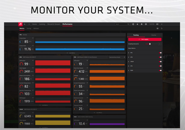 Мониторинг параметров в AMD Radeon Software Adrenalin 21.4.1