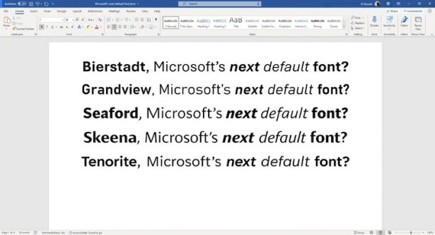 new Microsoft font 2022