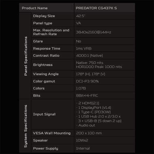 Характеристики Acer Predator CG437K S