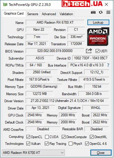 Характеристики ASUS ROG Strix Radeon RX 6700 XT OC Edition (ROG-STRIX-RX6700XT-O12G-GAMING) по данным GPU-Z