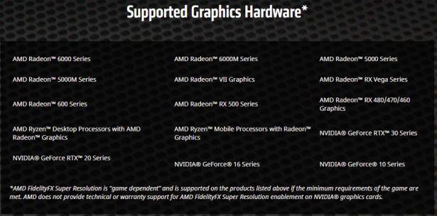 Поддерживаемые видеокарты AMD FidelityFX Super Resolution